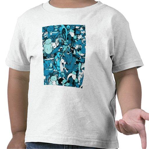 Monstruos lindos en azul, negro y blanco camisetas