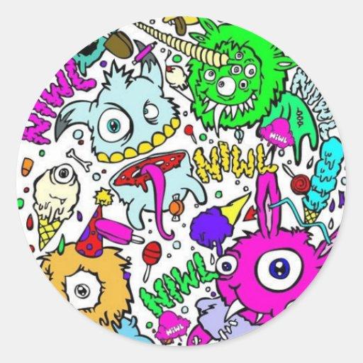 monstruos pegatina redonda
