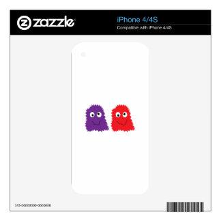 Monstruos púrpuras y rojos skins para eliPhone 4