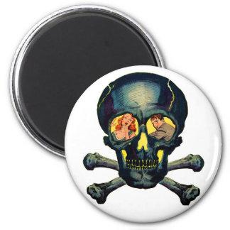 """Monstruos retros """"cráneo"""" del kitsch del vintage c imán redondo 5 cm"""