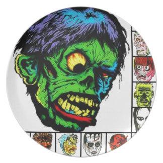 Monstruos retros del monstruo platos de comidas