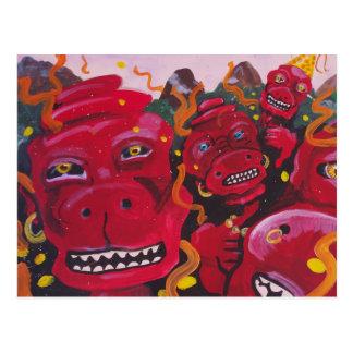 Monstruos rojos felices postales