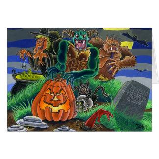 Monstruos y fantasmas del feliz Halloween Tarjeta De Felicitación
