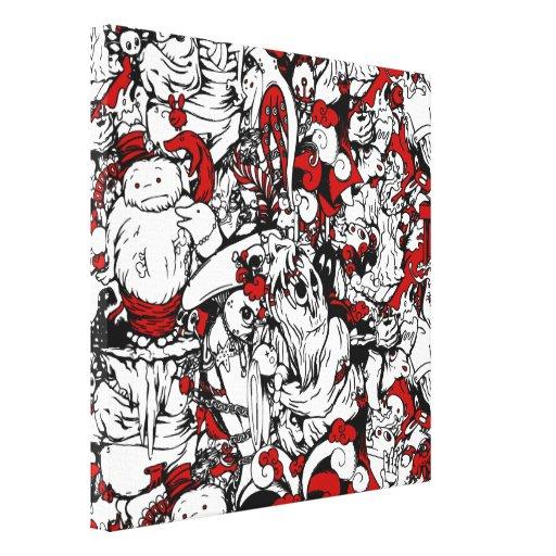 Monstruos y personajes de dibujos animados de los  lona envuelta para galerías