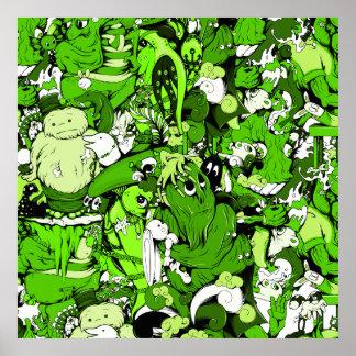 Monstruos y zombis verdes frescos posters