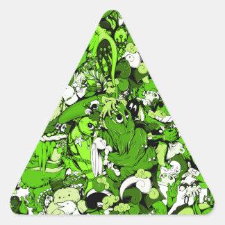 Monstruos y zombis verdes frescos calcomania de triangulo personalizadas