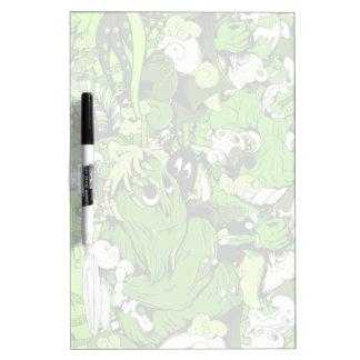 Monstruos y zombis verdes frescos tablero blanco