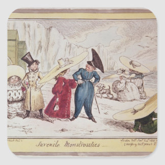 Monstruosidades juveniles, 1825 pegatina cuadrada