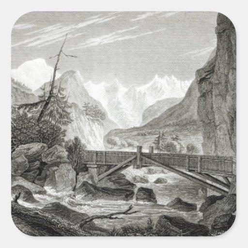 Mont Blanc de los baños de St. Desiderio Colcomanias Cuadradas Personalizadas