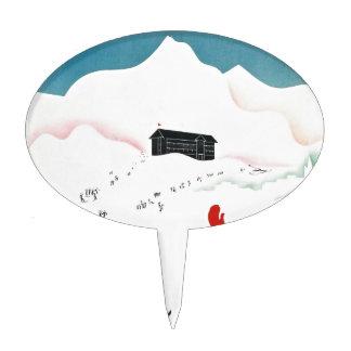 Mont Geneva Vintage Tourism Poster Cake Picks