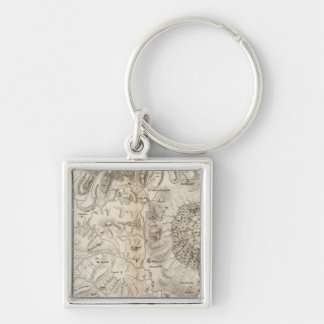 Mont Gibel, Etna Silver-Colored Square Keychain