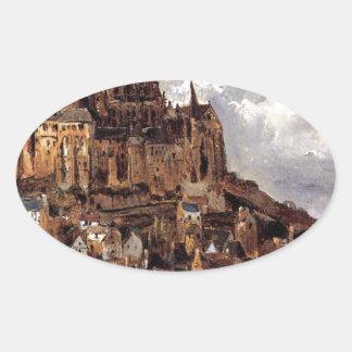 Mont Saint-Michel by Theodore Rousseau Oval Sticker