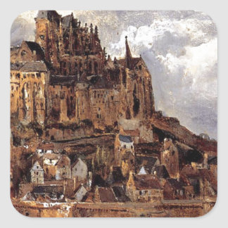 Mont Saint-Michel by Theodore Rousseau Square Sticker