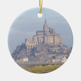 Mont Saint Michel Double-Sided Ceramic Round Christmas Ornament