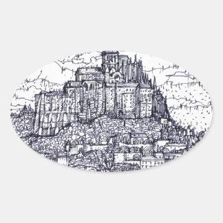 mont saint-michel oval sticker