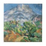 Mont Sainte Victoire Above the Tholonet by Cezanne Small Square Tile
