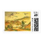 Mont Sainte Victoire by Cezanne, Vintage Fine Art Stamps