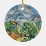 Mont Sainte Victoire sobre Tholonet, Paul Cezanne Adorno Navideño Redondo De Cerámica