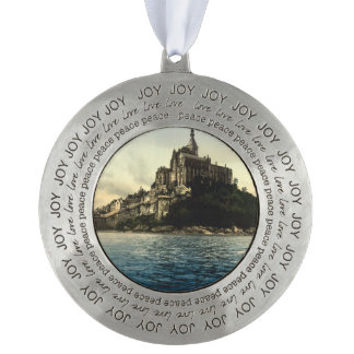 Mont St Michel III, Normandy, France Round Pewter Christmas Ornament