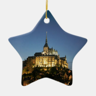Mont St Michel Double-Sided Star Ceramic Christmas Ornament