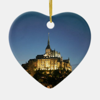 Mont St Michel Double-Sided Heart Ceramic Christmas Ornament