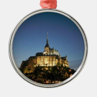 Mont St Michel Round Metal Christmas Ornament