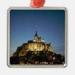 Mont St Michel Square Metal Christmas Ornament