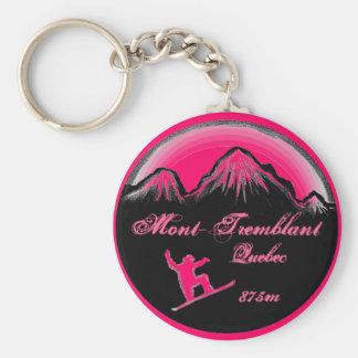Mont Tremblant Quebec pink snowboard art keychain