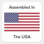 Montado en los E.E.U.U. Colcomanias Cuadradas Personalizadas