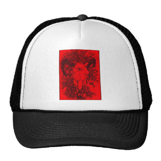 Montado picó bosquejo del lápiz en rojo gorras de camionero