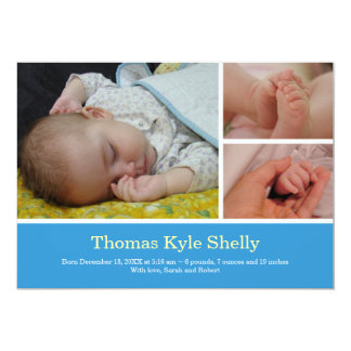 Montage 3 photo sweet blue baby birth announcement