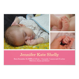 Montage 3 photo sweet pink baby birth announcement