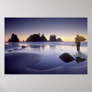 Montage of man carrying kayak, ShiShi Beach, Poster