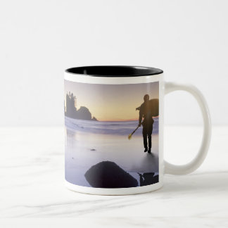 Montage of man carrying kayak, ShiShi Beach, Two-Tone Coffee Mug