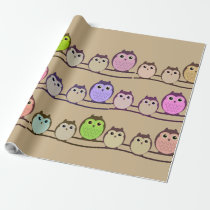 Montage of Owls Wrapping Paper