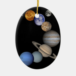 Montage of Planets in Space Double-Sided Oval Ceramic Christmas Ornament