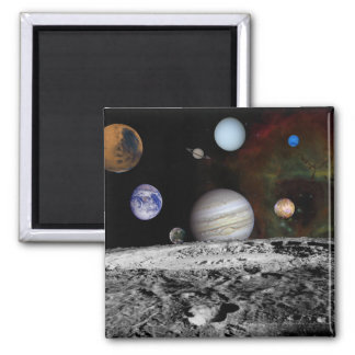 Montage of the planets and Jupiter's moons 2 Inch Square Magnet