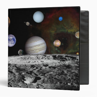 Montage of the planets and Jupiter's moons Binders