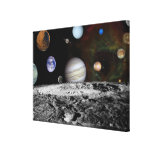 Montage of the planets and Jupiter's moons Canvas Print