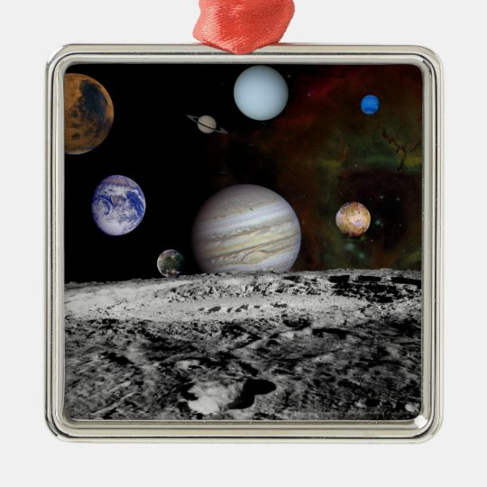 Montage of the planets and Jupiter's moons Metal Ornament