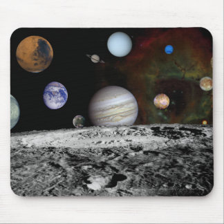 Montage of the planets and Jupiter's moons Mouse Pad