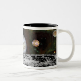 Montage of the planets and Jupiter's moons Mugs
