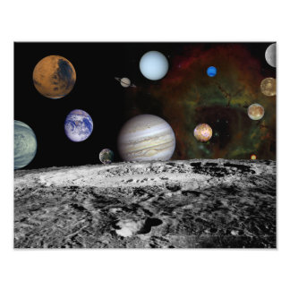 Montage of the planets and Jupiter's moons Photo Print