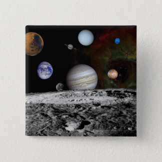 Montage of the planets and Jupiter's moons Pinback Button