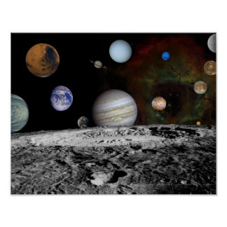 Montage of the planets and Jupiter's moons Poster