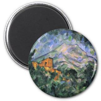 Montagne Sainte-Victoire y castillo francés Noir Imán Redondo 5 Cm