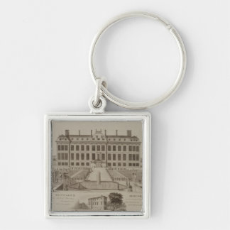 Montague House, now the British Museum, 1813 (engr Silver-Colored Square Keychain