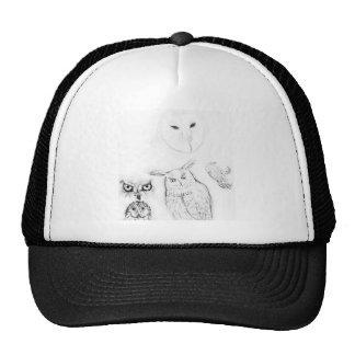 Montaje blanco y negro del dibujo del búho gorros