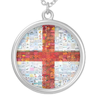 Montaje de la bandera de Inglaterra Collar Plateado