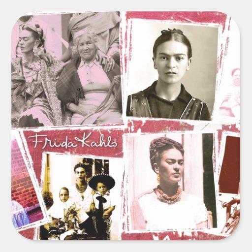 Montaje de la foto de Frida Kahlo Calcomania Cuadrada Personalizada